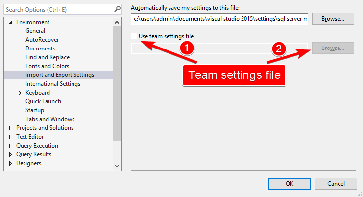 Import and Export Settings